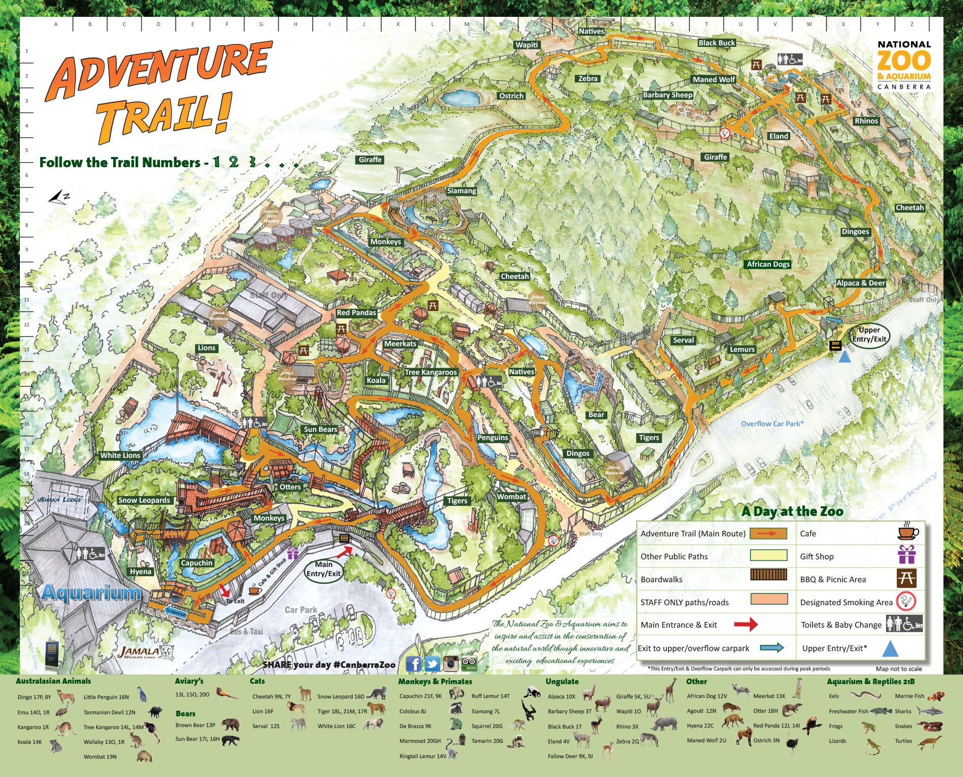 Map Of Canberra Website Map 2017 National Zoo Aquarium