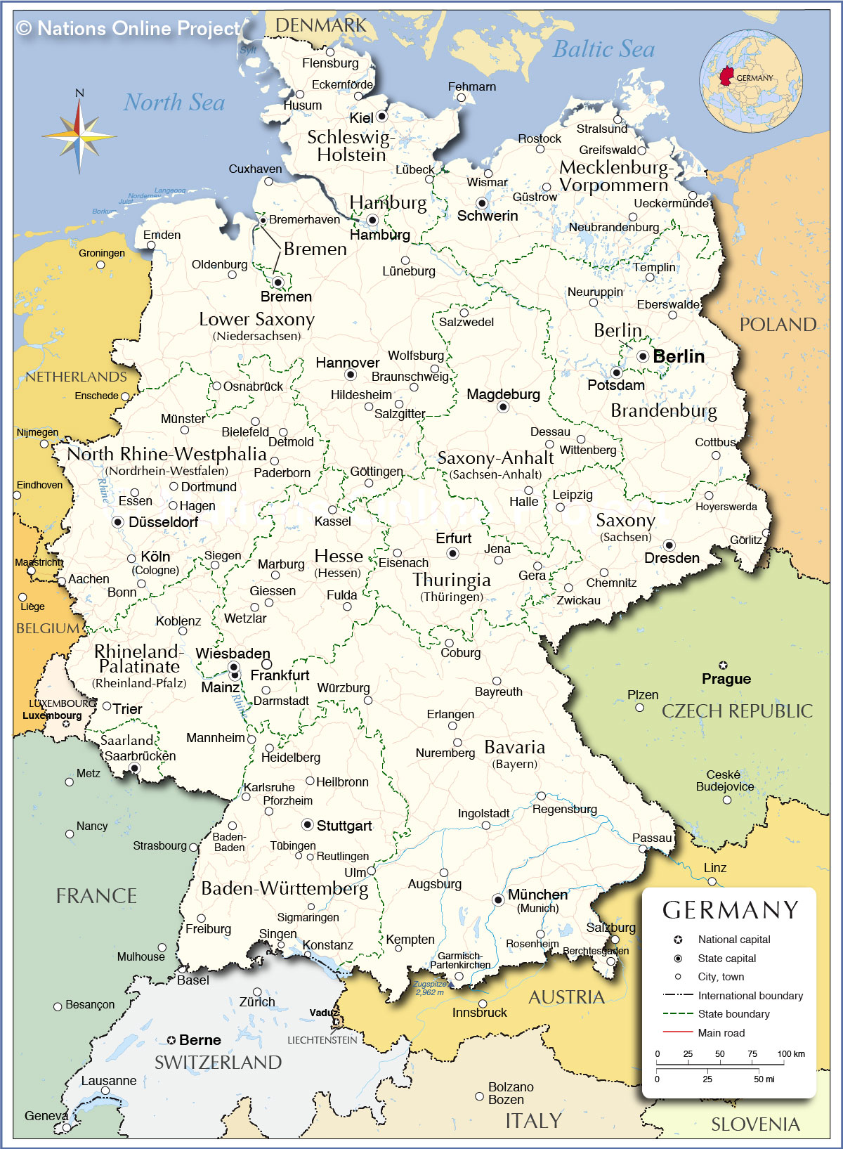 Maps Saarbrücken Administrative Map Of Germany Nations Online Project