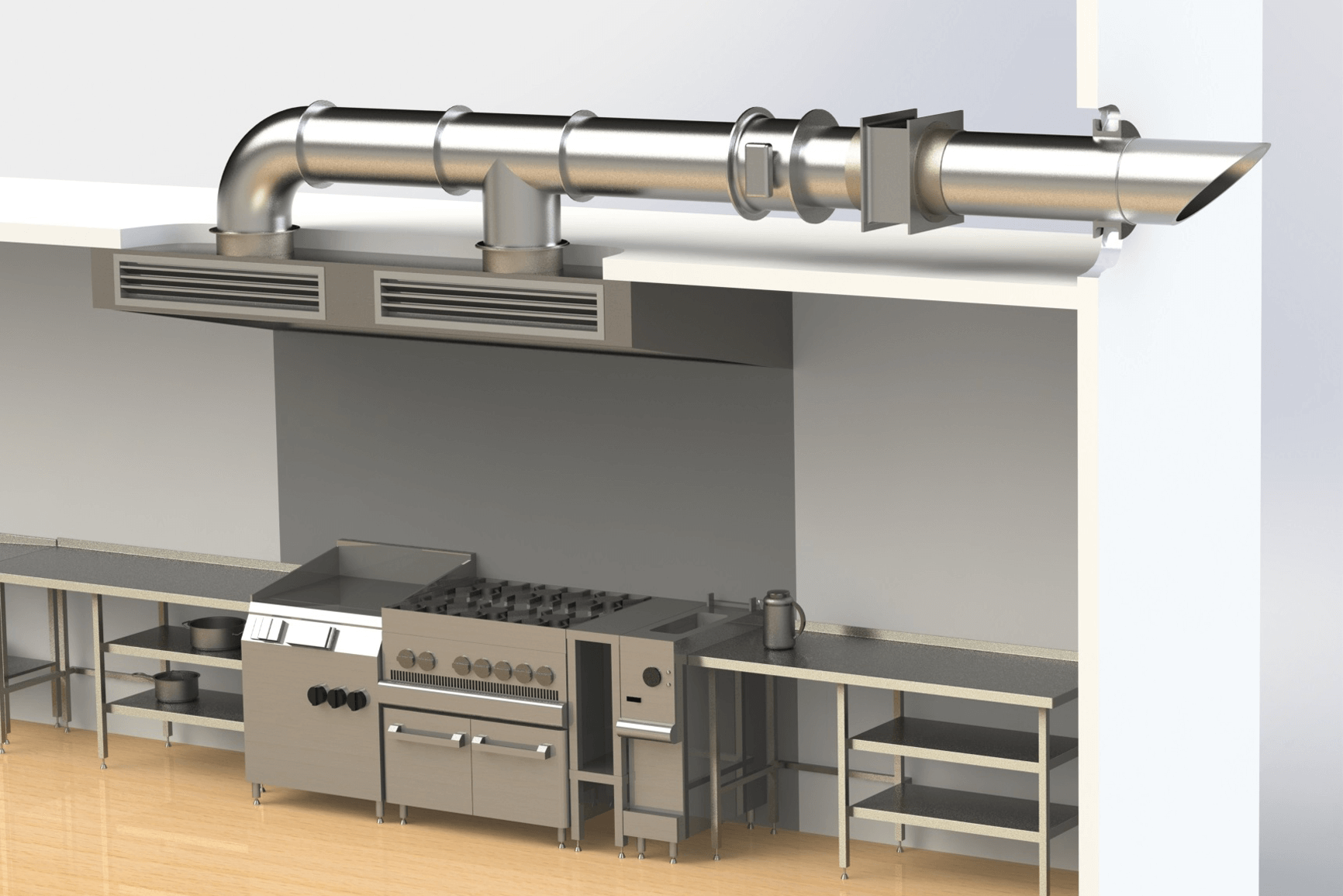Kitchen Vent Exhaust Hoods Grease Extraction Devices And Make Up Air For Fire