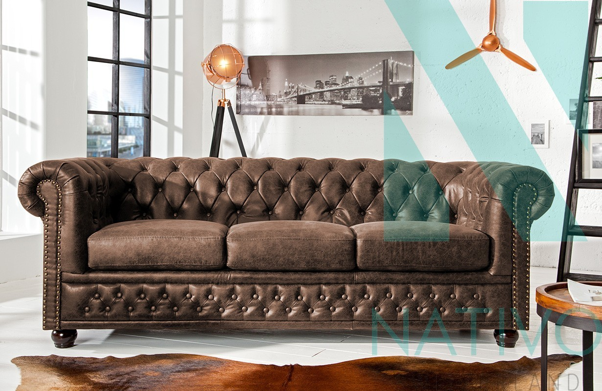 Canapé Chesterfield Design Canapé Design Chesterfield Vintage 3 Places Nativo