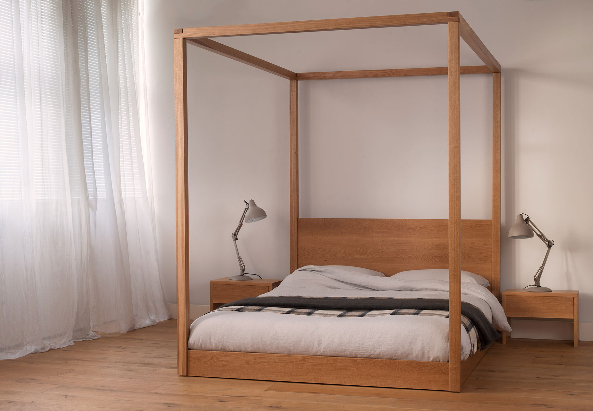 Wood Four Poster Beds Cube Modern Four Poster Bed Solid Wood Natural Bed