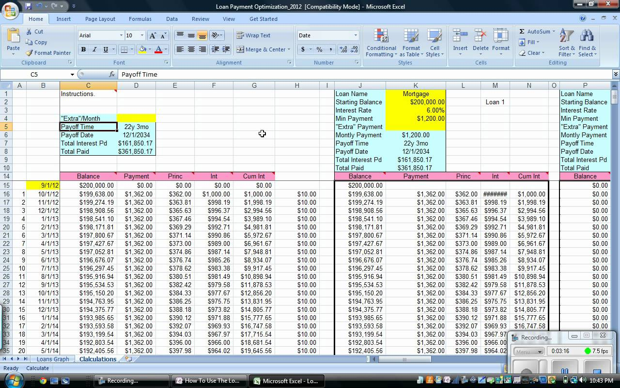 mortgage amortization schedule spreadsheet