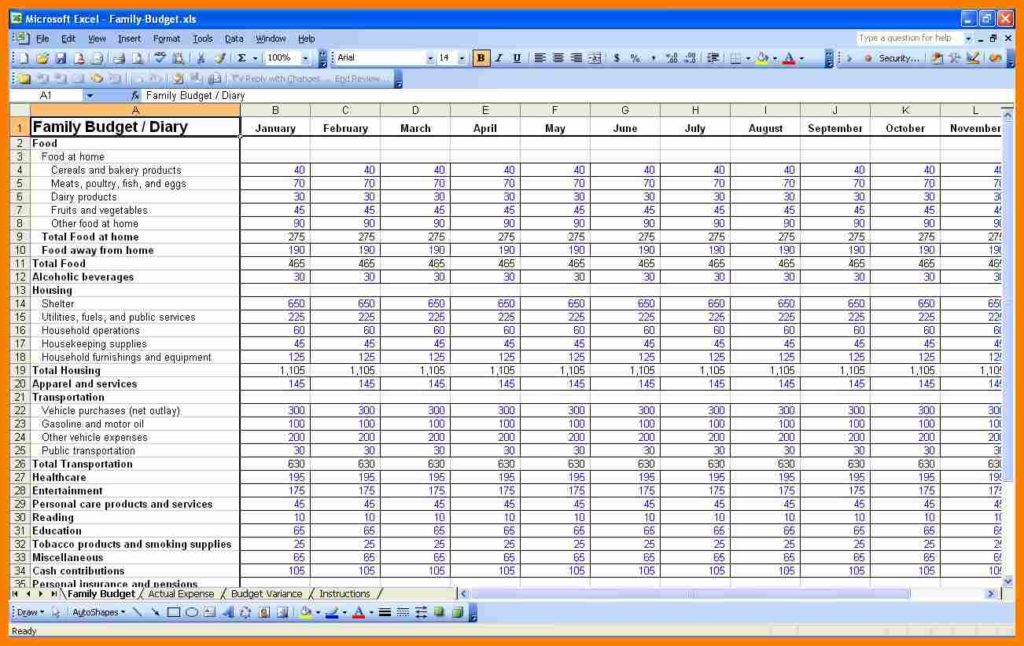 Family Budget Worksheet Pdf And Family Budget Spreadsheet Uk