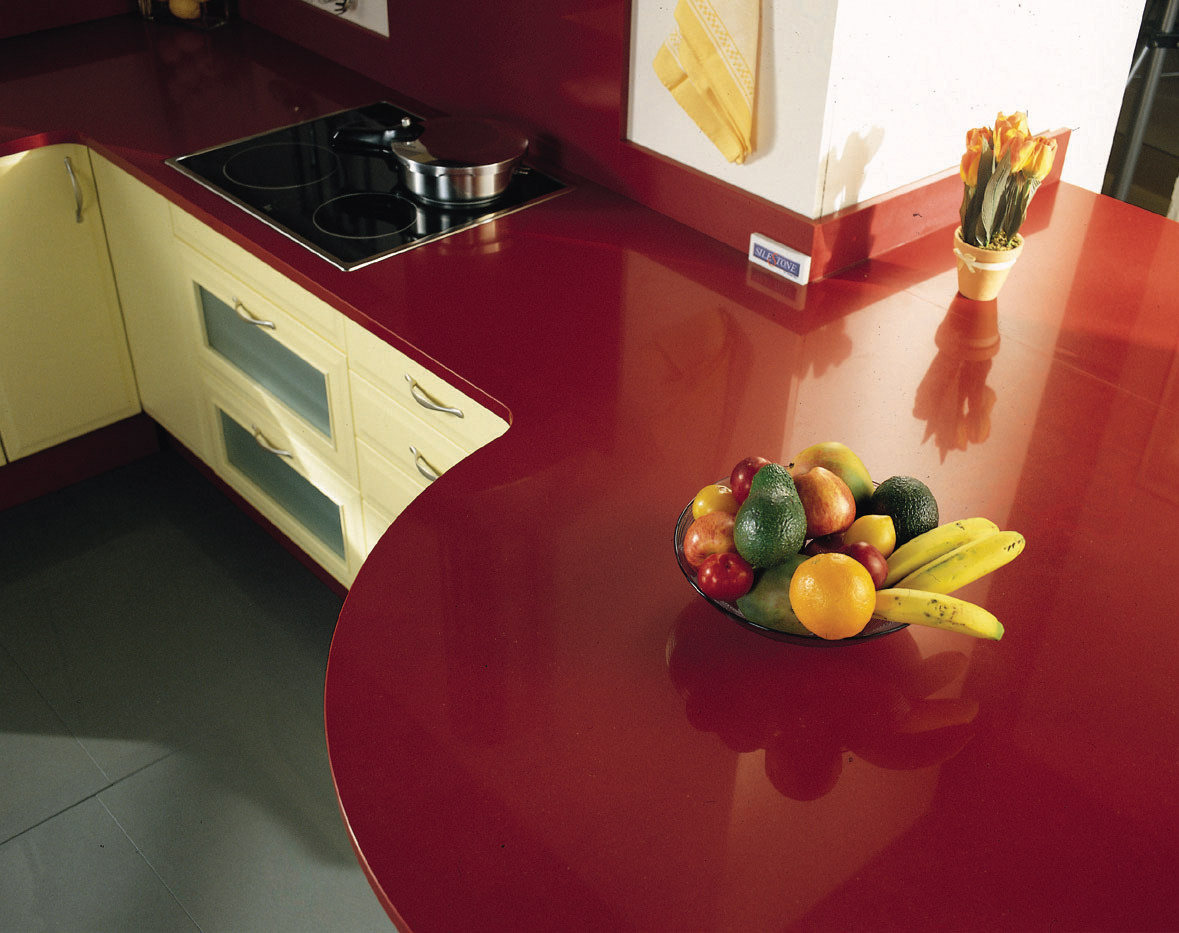 Red Solid Surface Countertops Silestone Natural Granite And Marble