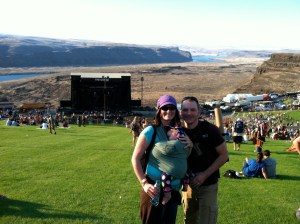 Moby - Maile and Eric enjoy DMB at the Gorge while wearing Izzy, 5 months old Photo Credit: Maile Allen