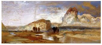 'First sketch of the West, Green River Wyoming,1871' Thomas Moran
