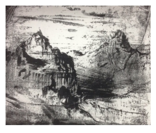'Green River Cliffs' Lithograph 30x23cm