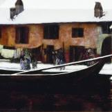 (1879-1880). Attraverso il colore e all'aggiunta di bianchi spessi, Segantini suggerisce il silenzio e il senso di torpore del quartiere, pieno però di vita e gente che cammina davanti ai panni stesi.