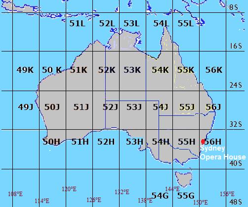 map grid of australia zones