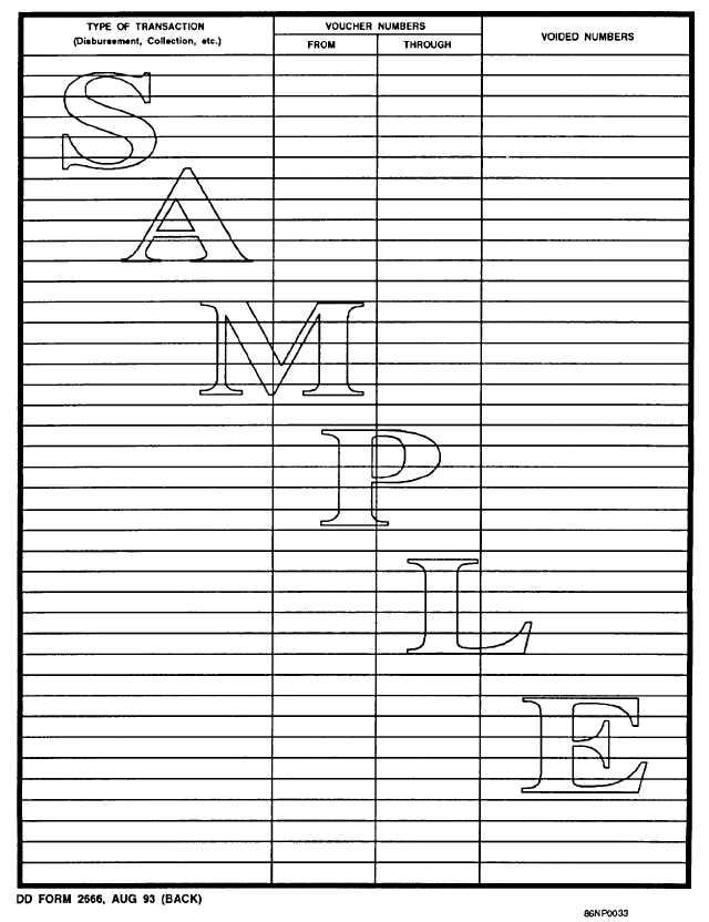 Sample DD Form 2666, Transmittal of Statements and Vouchers (back) - transmittal form