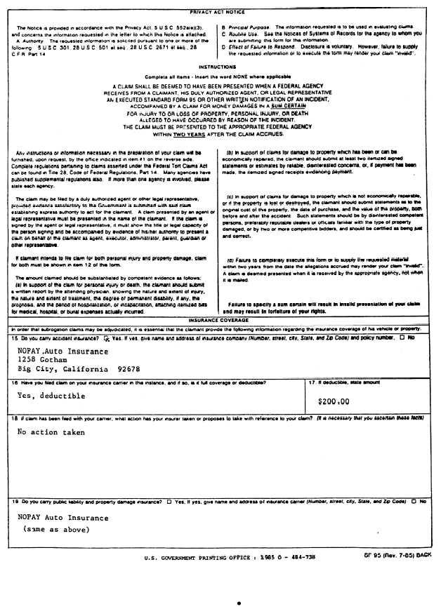 Sample of Standard Form 95, Claim for Damage, Injury, or Death (back