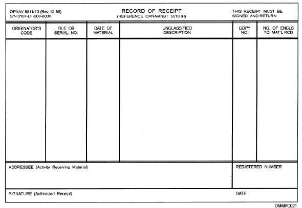 Figure 4-3\u2014Example of a Record of Receipt, OPNAV Form 5511/10 - Delivery Receipt Form