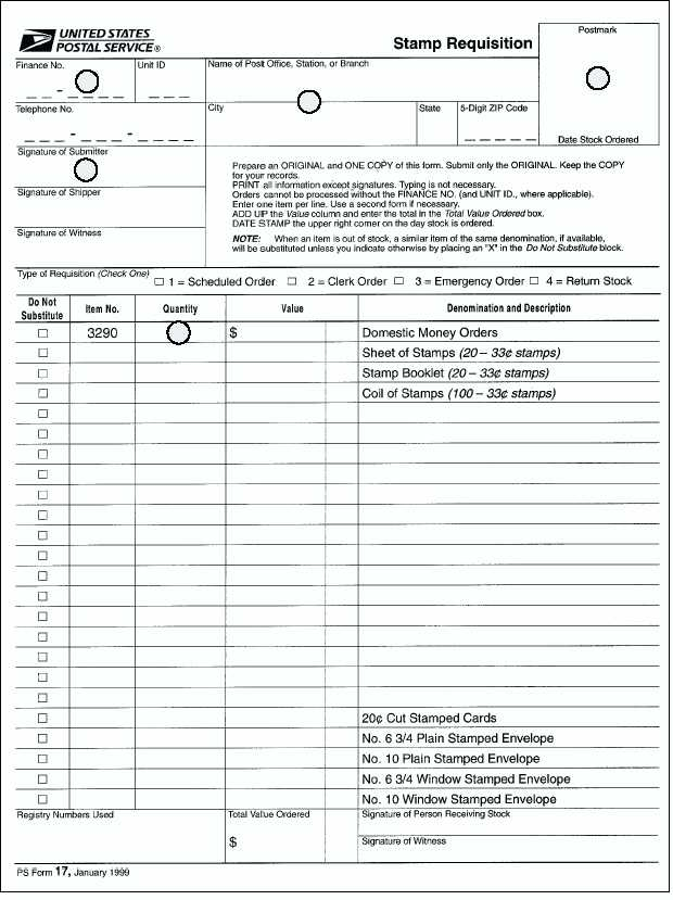 Figure 8-20u2014An example of a PS Form 17 used to requisition money - money order form