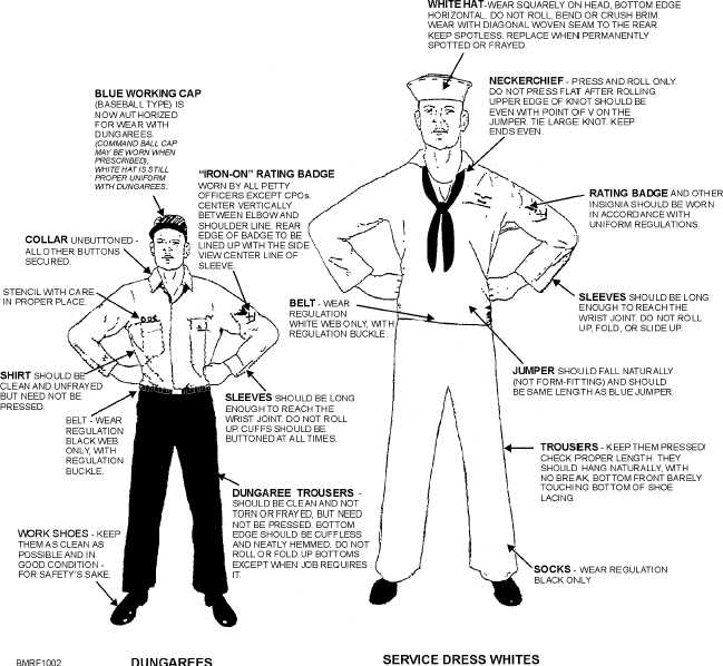 Proper wear of male USN enlisted service dress white and dungaree - call center job resume