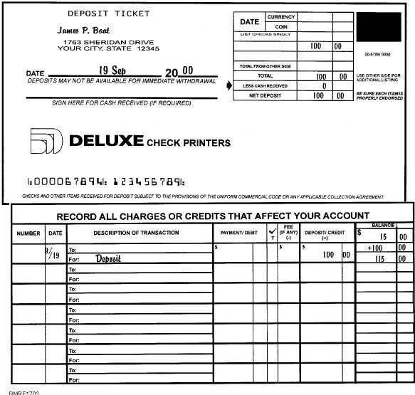A sample deposit ticket and corresponding check register entry