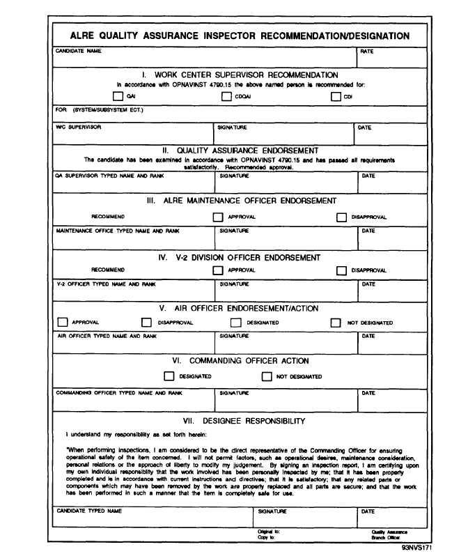ALRE Quality Assurance inspector Recommendation/Deslgnatlon form - quality assurance form template