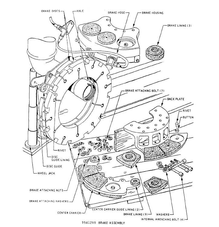 single disc brakerepair and parts replacement diagram