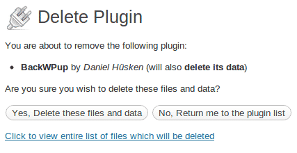 Plugin delete its data