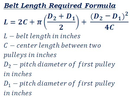V or Flat Belt Cross Length Formula  Calculator