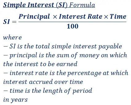 Simple Interest (SI) Calculator  Formula