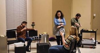 "John Bihun (far left,) Bridget Adams-King (center,) Jack Morsovillo (far right,) and Anne Lorentzen (front right) rehearse a scene in ""God of Carnage."" Photo by Jonna Sekowski"