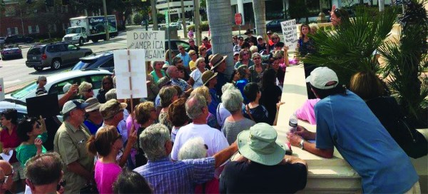 Approximately 100 Sarasota locals prepare to occupy the lobby of House Representative Vern Buchanan's (R-Sarasota) office on Feb. 21, 2017. Photo courtesy of All of Us Sarasota.