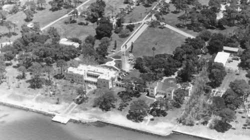 An aerial view of the west side of campus circa 1973.