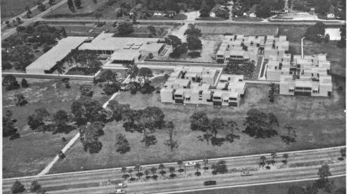 An aerial view of the east side of campus circa 1960s.