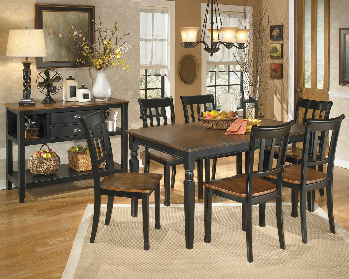 Owingsville 8 Pc Rect Dining Room Table 6 Side Chairs Dining Room Server Nc Gallery Furniture