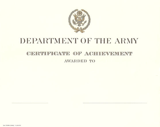 What is DA Form 2442? NCO Pro - army certificate of achievement template