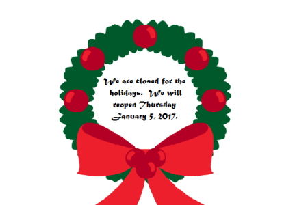 Closed for the Holidays!