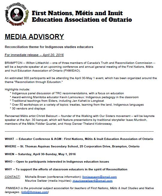 Media Advisory Reconciliation theme for Indigenous studies educators