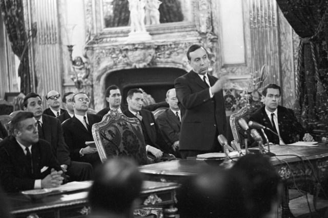 Michel Debre at a press conference in Paris, 1966.