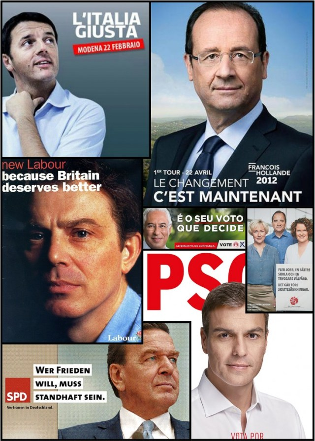 Collage of SPD political leaders' campaign posters