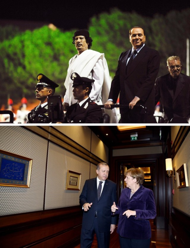 Collage - on top, Gaddafi and Berlusconi ride in a car, on bottom Erdogan and Merkel walk down a hall