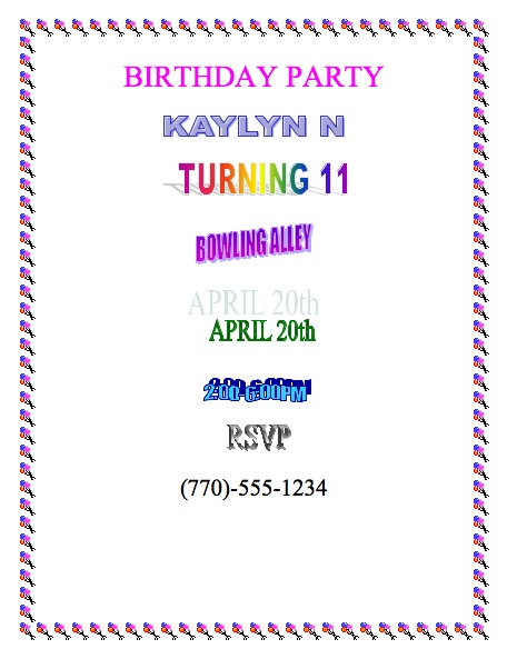Doc How to Write Invitation for Birthday Party Example Sample – Example of a Birthday Invitation