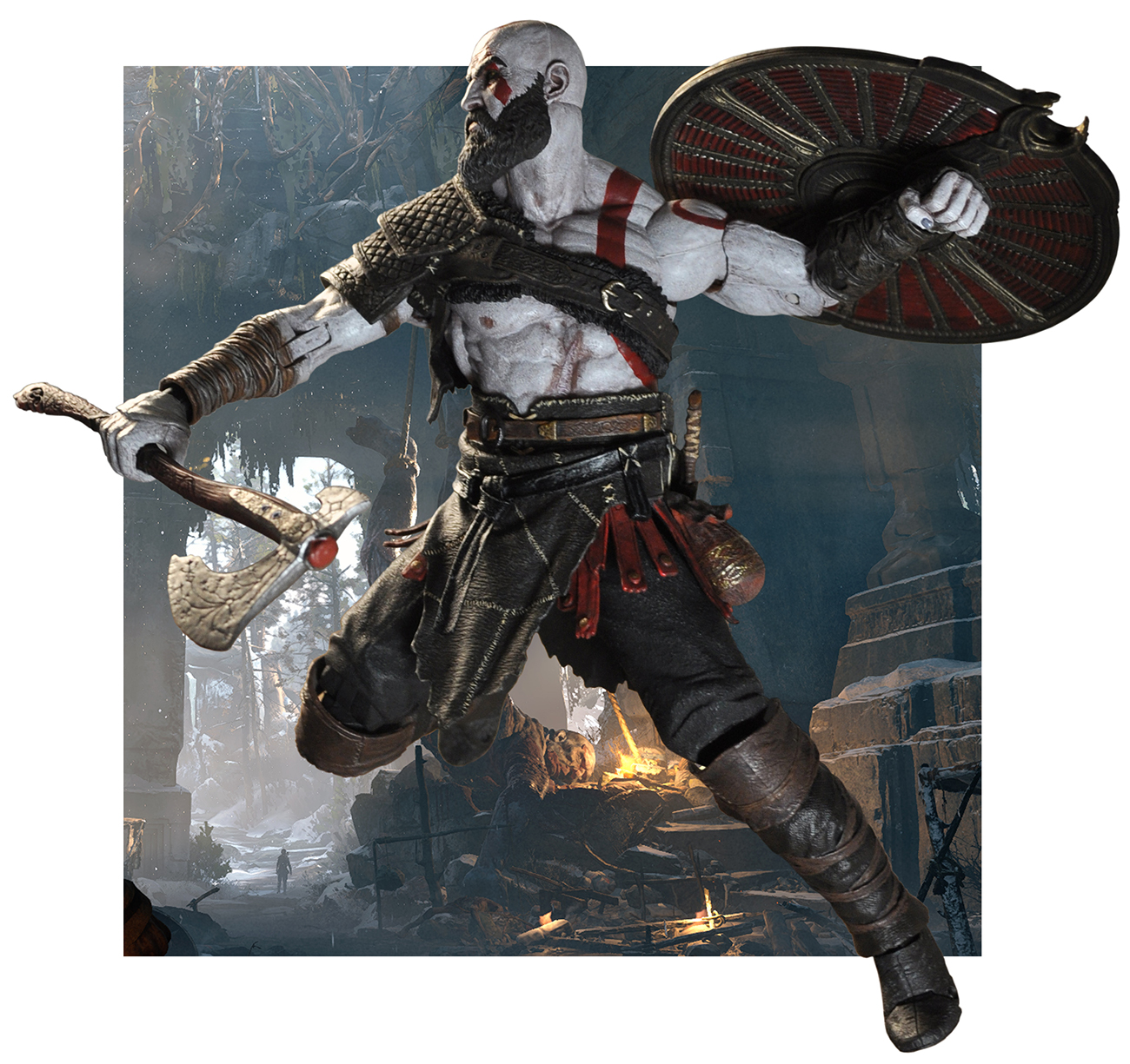 Lederkleid Braun God Of War 2018 7 Scale Action Figure Kratos