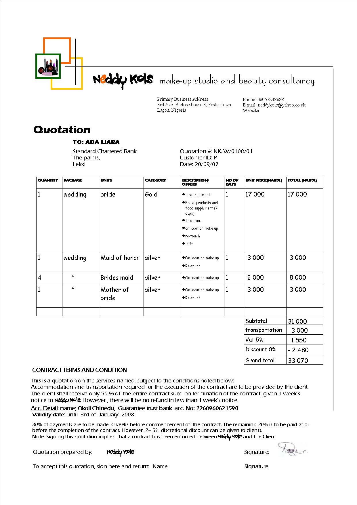 quotation template general quote template for excel quotation – Professional Quotation Template