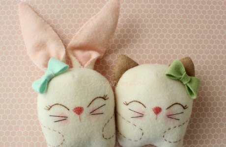 Embroidery Snuggle Bunny And Kitty
