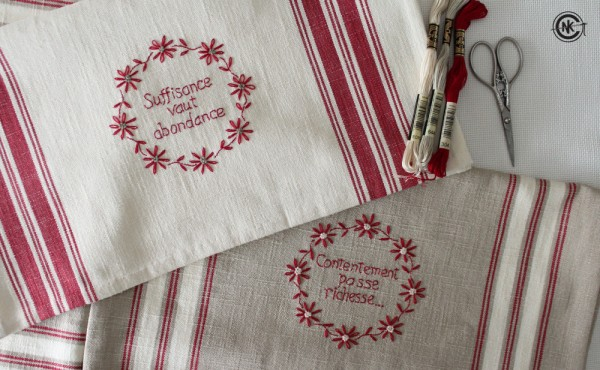 Diy embroidered french kitchen towels needle work