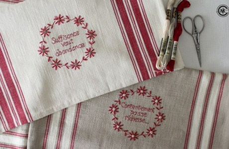 DIY Embroidered French Kitchen Towels