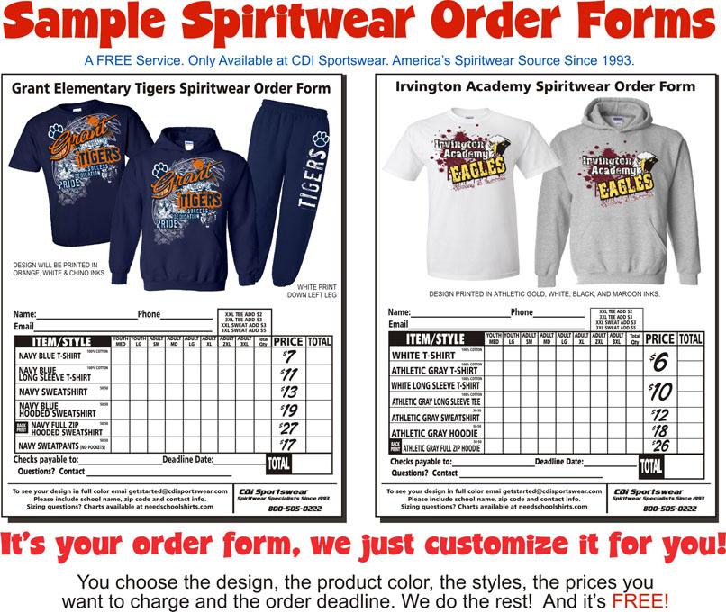 spirit wear order form template