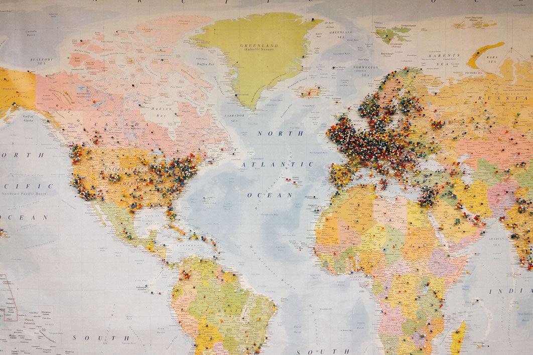Pinned World Map Free Stock Photo - NegativeSpace