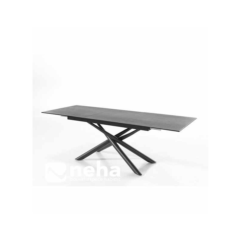 Table Ceramique Pied Central Table En Céramique Anthracite Avec Allonge En Céramique Et
