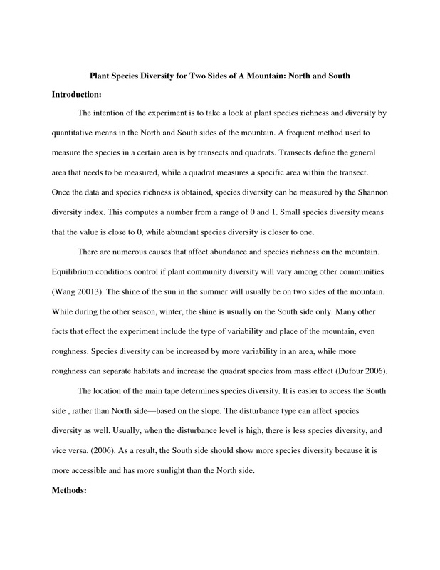 Field Ecology Lab Report - Neha Bagrodia - lab report sample