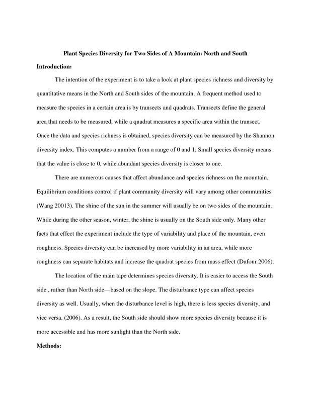 Field Ecology Lab Report - Neha Bagrodia