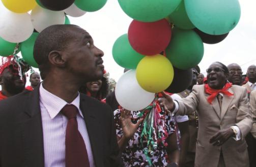 President Robert Mugabe releasing his birthday ballons into the sky.