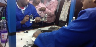 ZDTC students explain how diamond cutting is done (pic by Lloyd Gumbo)