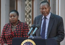 """Interior Cabinet Secretary Joseph Nkaissery addresses journalists at Harambee House in Nairobi on July 23, 2015. """"If CNN (journalists) are civilised, they should apologise for terming Kenya a 'hotbed of terror,'"""" he said. PHOTO 