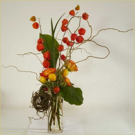 Chinese Lanterns with Curly Willow, designed by Yukiko